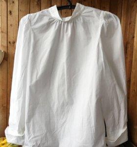 Белая рубашка H&M с плечами-фонариками