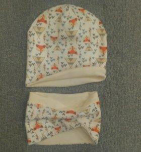 Детские шапка и снуд новые на 1-2 года