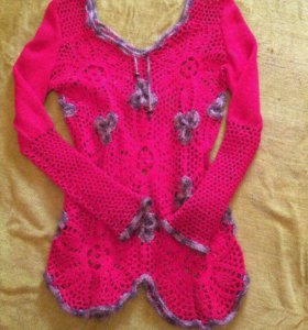 Тёплый свитер ручной вязки 46 48