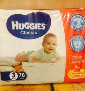 Хагис 3 размера. Huggies Classic 3 (5-9кг) 78шт