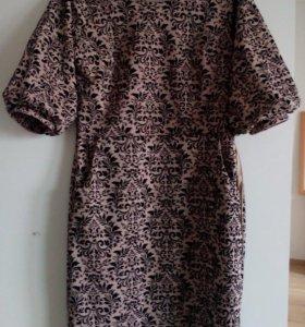 Платье новое с бархатным узором, р.44-46