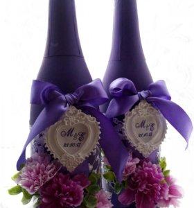 Оформление свадебного шампанского