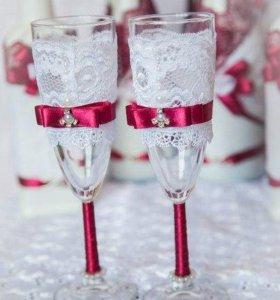 Оформление бутылок и бокалов к вашему празднику!