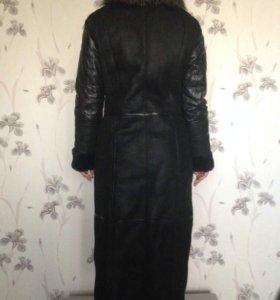 Дубленка - пальто с чернобуркой
