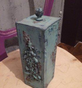 Деревянный декоративный короб с крышкой. Хэндмейд
