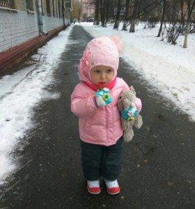 Зимний детский костюм, розовая куртка, серые штаны