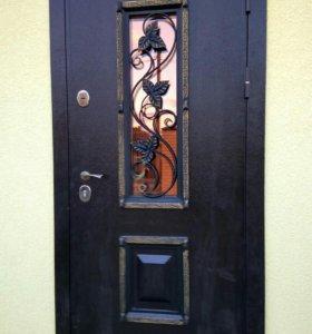 Входная дверь с ковкой +монтаж