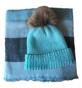 Вязаная шапка и шарф ( палантин )