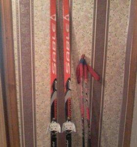 Лыжи полупластик Sable + палки