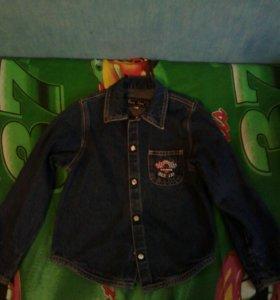 Джинсовая рубашка пиджак на мальчика