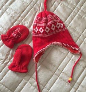 Новый набор шапка и варежки 1-2 года рождество