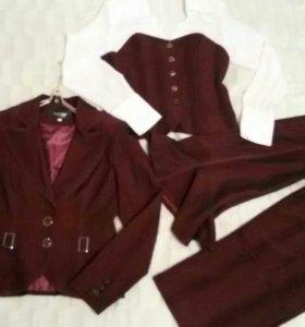 Костюм комплект (юбка+брюки+пиджак+блузка+галстук)