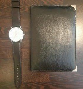 Кожаное мужское портмоне б/у + часы наручные