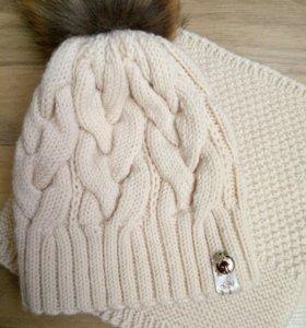 Комплект шапка с меховым помпоном и снуд. На заказ
