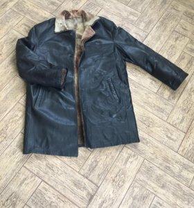 Куртка удлиненная кожаная мужская зимняя