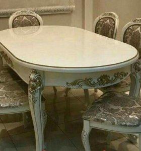 Обеденная группа Роза 180 см и 6 стульев барок