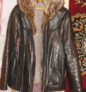 Куртка кожа + натуральный мех.