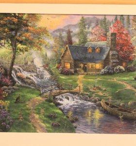 Картина Томаса Кинкейда. Домик в Альпах. Акварель