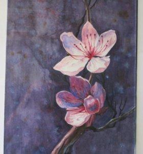 Картина акварелью. Сакура