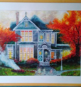 Картина Томаса Кинкейда. Осень. Акварель