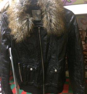 Кожаная куртка с мехом Zolla