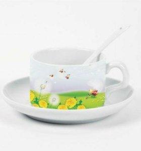 Кофейный набор (кружка+ложка+блюдце) С вашим фото
