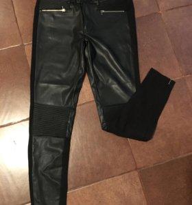 Леггенцы брюки Zara кожзам трикотаж