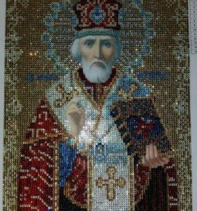 Икона Св.Николая Чудотворца,алмазная вышивка