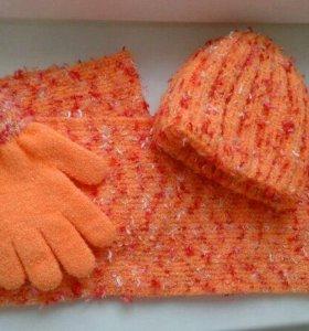 шапка + шарф + перчатки комплект новый