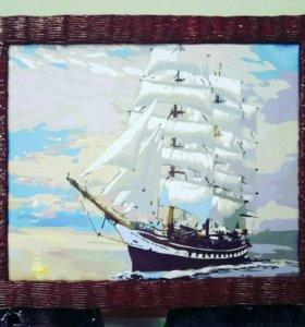 Картина в плетенной рамочке