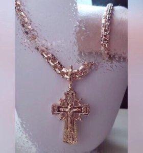 Подарок новый набор украшения золото комплект 16к