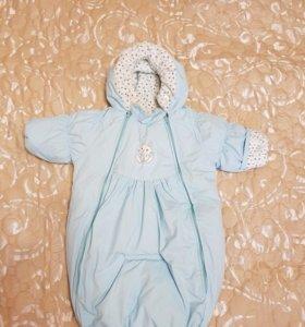 Зимний комбинезон-конверт для новорожденного