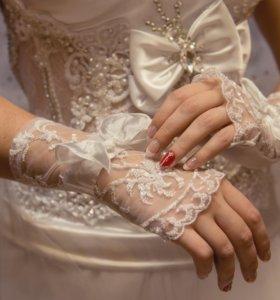 Свадебное платье пышное + перчатки