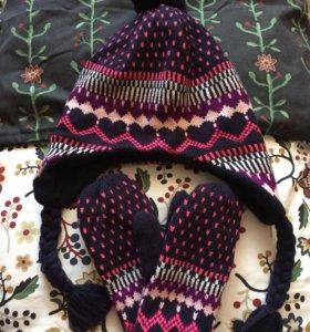Комплект шапка + варежки