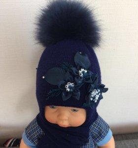 Зимняя шапка+шарф, размер 46-48.