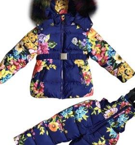 Новый Зимний детский костюм, комплект, комбинезон