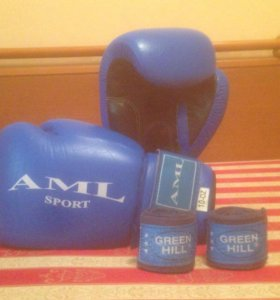 Перчатки боксёрские AML Sport 10 OZ + бинты G.HILL