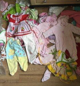 Пакет вещей на девочку от рождения до 9 мес