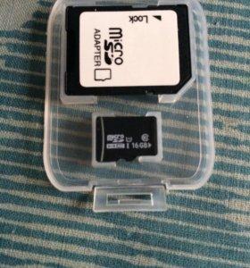 Карта памяти MicroSD 16 Гбайт