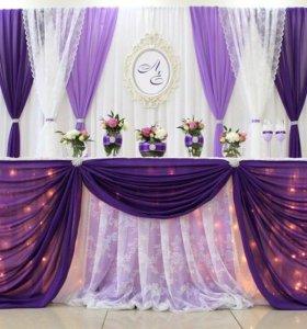 Оформление зала тканями,цветами,шарами