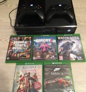 Xbox one-500 gb, 2 геймада+топ игры