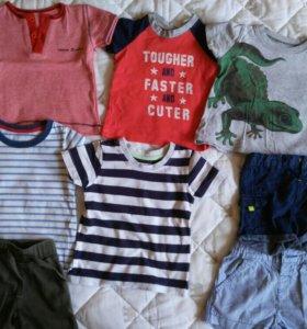Рубашки,майки,шорты,комбинезон на 6-12м