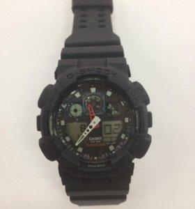 Часы Casio G-Shock GA-100 Черные красная часовая
