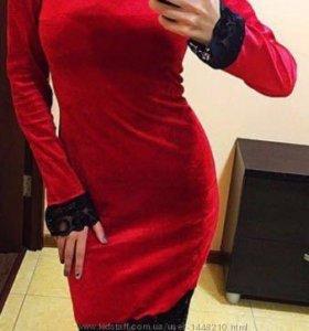 Ярко красное бархатное платье 🔥🌺