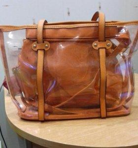 Пляжная сумка вместе с дамской сумкой
