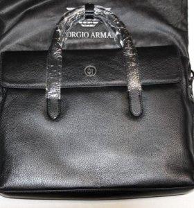 Мужская кожаная стильная сумка Armani AJ lux новая