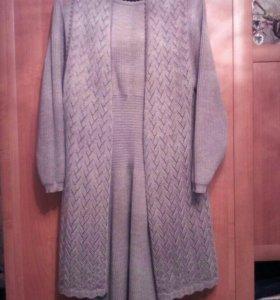 Платье вязаное с жилетом 46-48