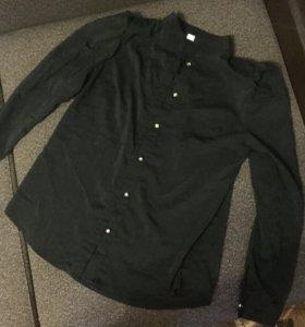Шифоновая чёрная рубашка