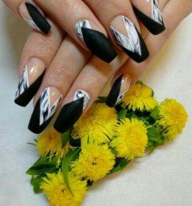 Маникюр гель лак наращивание ногтей акрил  роспись