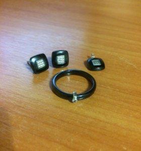 Серьги, подвеска, кольцо (керамика+серебро)